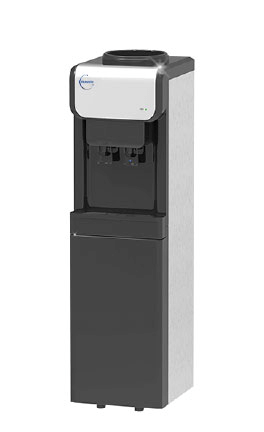 B19 Cold and Room Temperature black and stainless steel freestanding water cooler dispenser